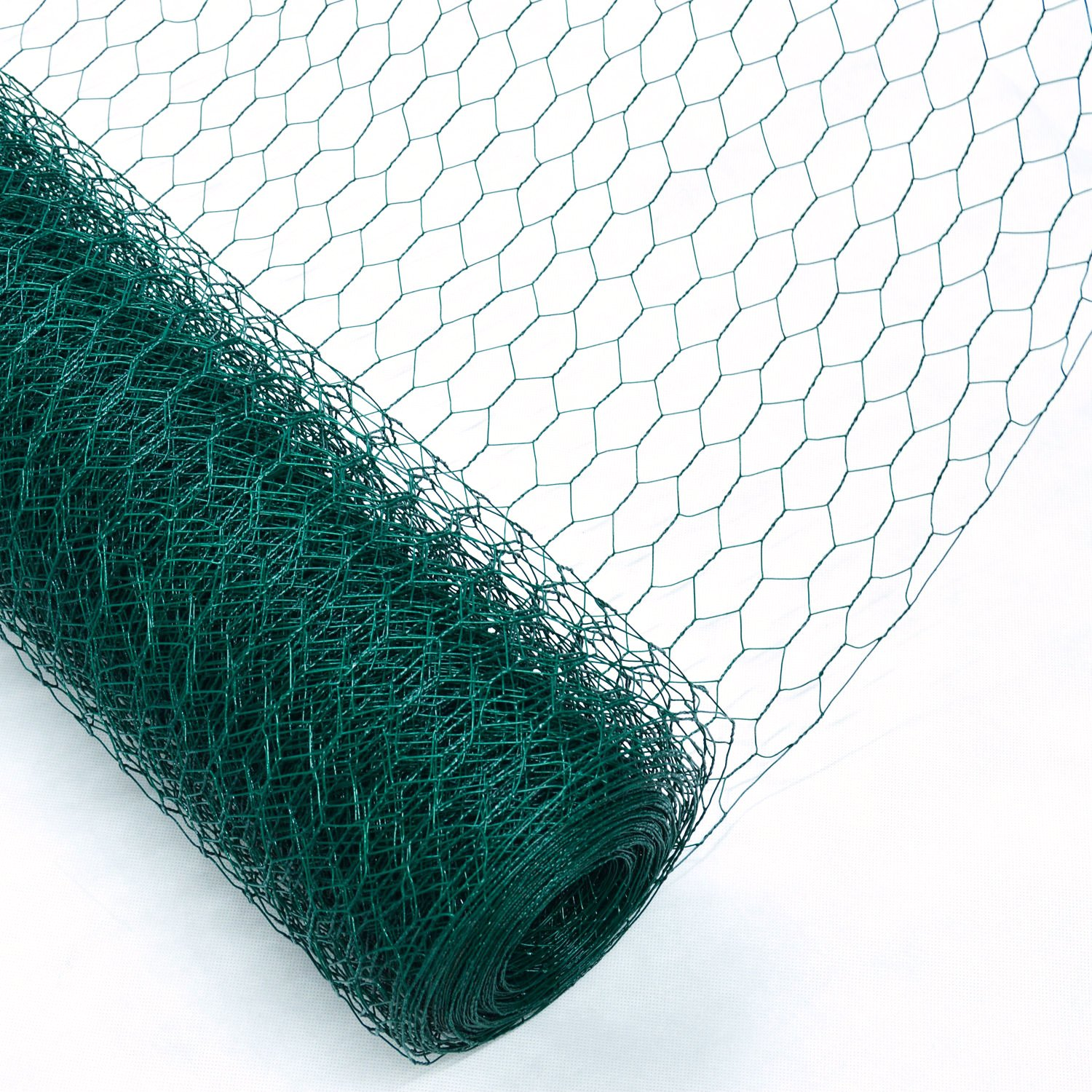 Woodside 25m Green PVC Coated Chicken Rabbit Wire Mesh Fence Fencing ...