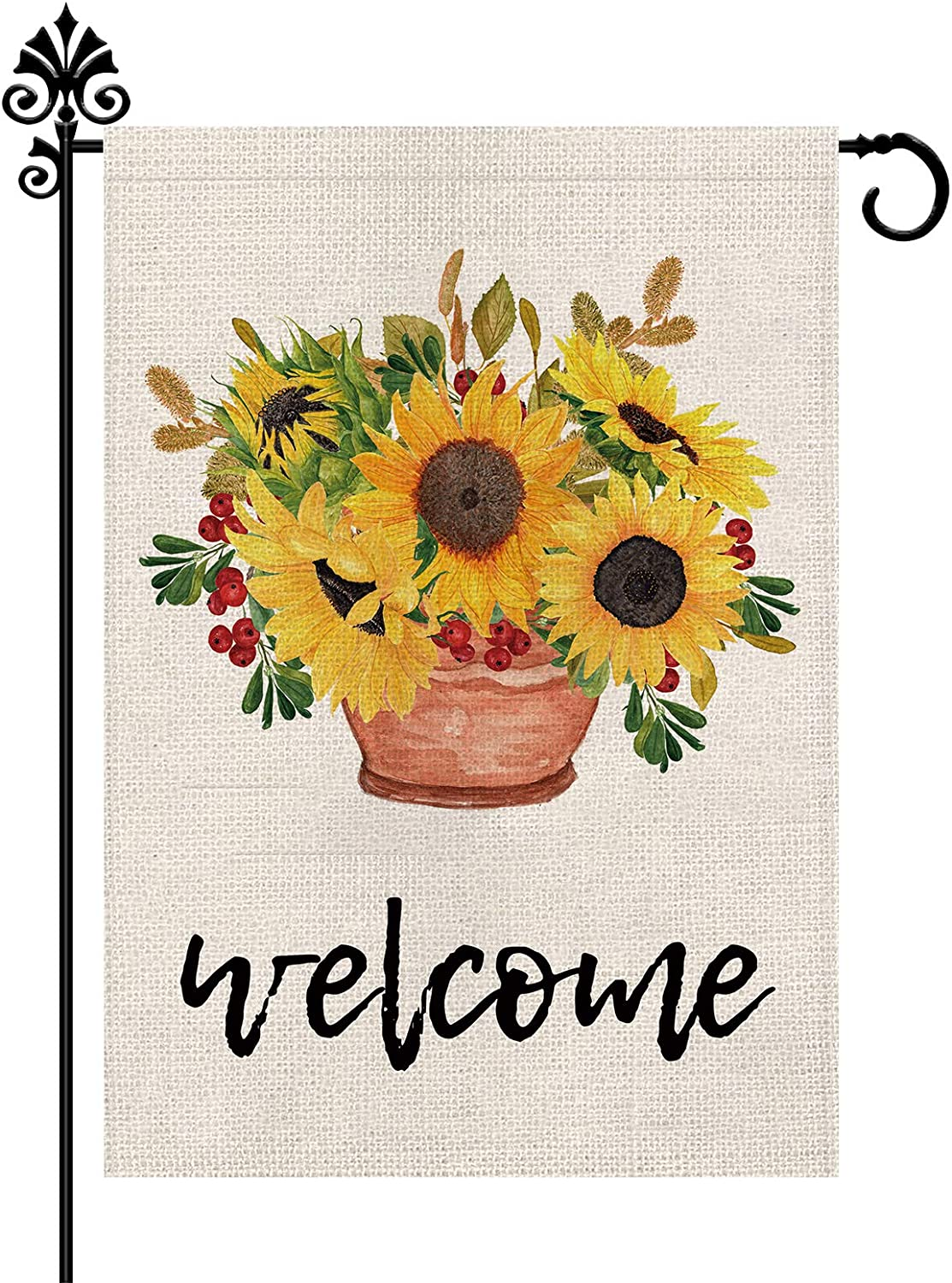 Sunflower Garden Flag Welcome Summer Holiday Outdoor Decorations Double Sided Vertical Burlap Farmhouse Yard Decor 12.5 x 18 Inch