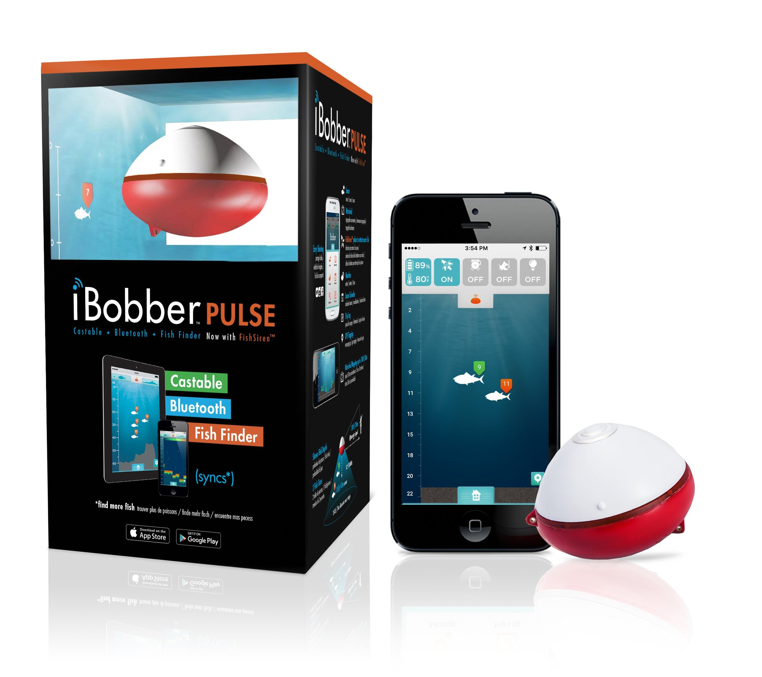 iBobber Pulse with Fish Attractor Wireless Bluetooth Smart Fish Finder for iOS and Android devices by ReelSonar