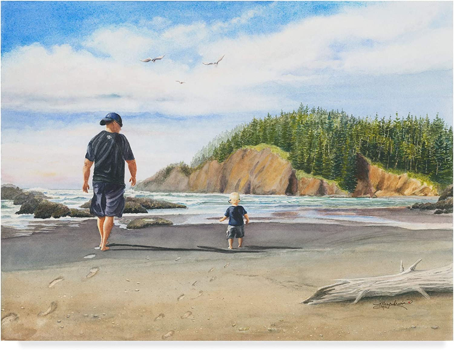 Trademark Fine Art Footsteps in The Sand by Mary Irwin, 18x24-Inch