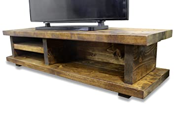 uk availability ac255 1c574 Solid Rustic Handmade Pine Canada TV Unit, finished in a Chunky Country Oak  (140cm x 40cm x 33cm, Dark Oak)