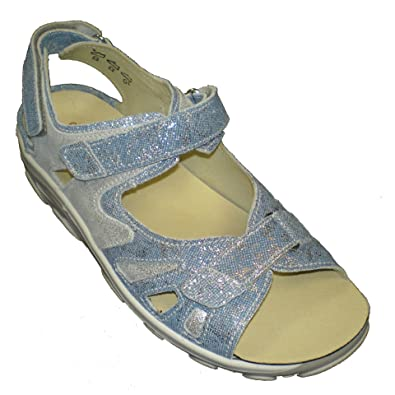 06a3160a101c Waldläufer Women s Leather Sandals US 10.5   UK 8   EU 42 Jeans Silver