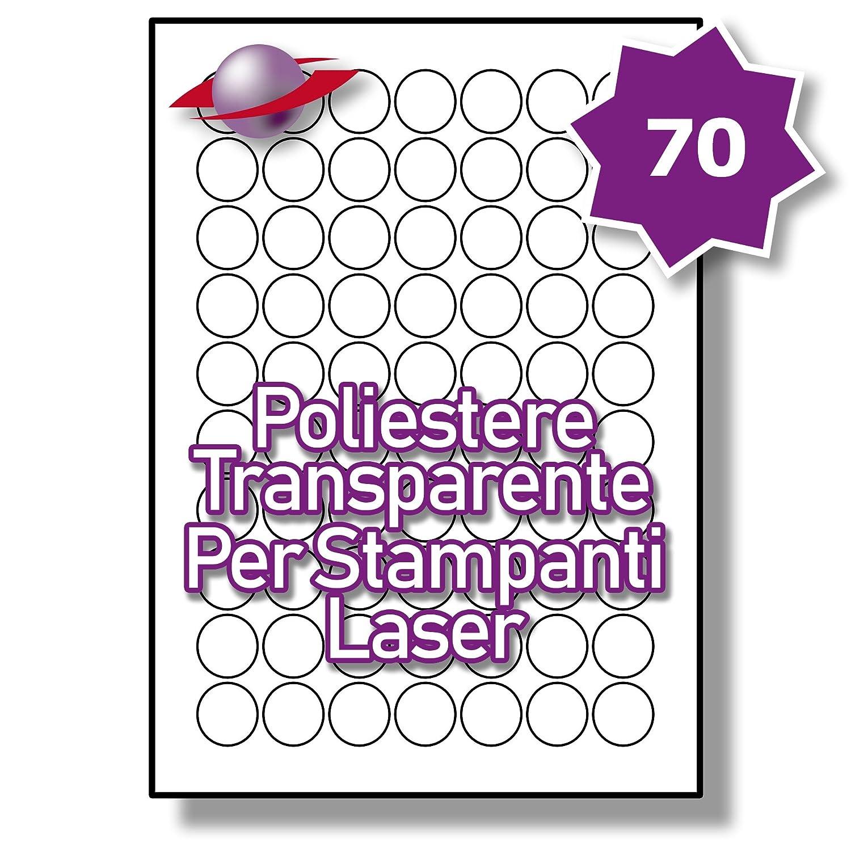 70 Par Foglio, 5 Fogli, 350 Etichette. Label Planet® Etichette Rotonde Trasparenti di Poliestere A4 Lucide per la Stampa Laser 25mm Diametro , LP70/25 R GTP.