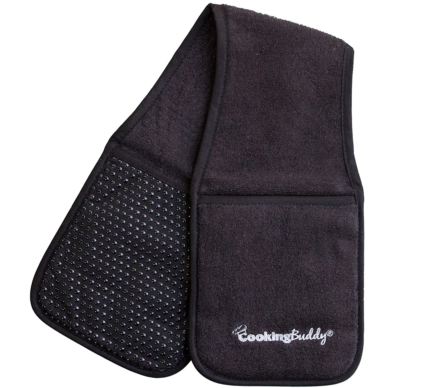 Campanelli's Cooking Buddy - Professional Grade All-in-One Pot Holder, Hand Towel, Lid Grip, Tool Caddy, and Trivet. Heat Resistant up to 500ºF. As Seen On Facebook (Onyx)