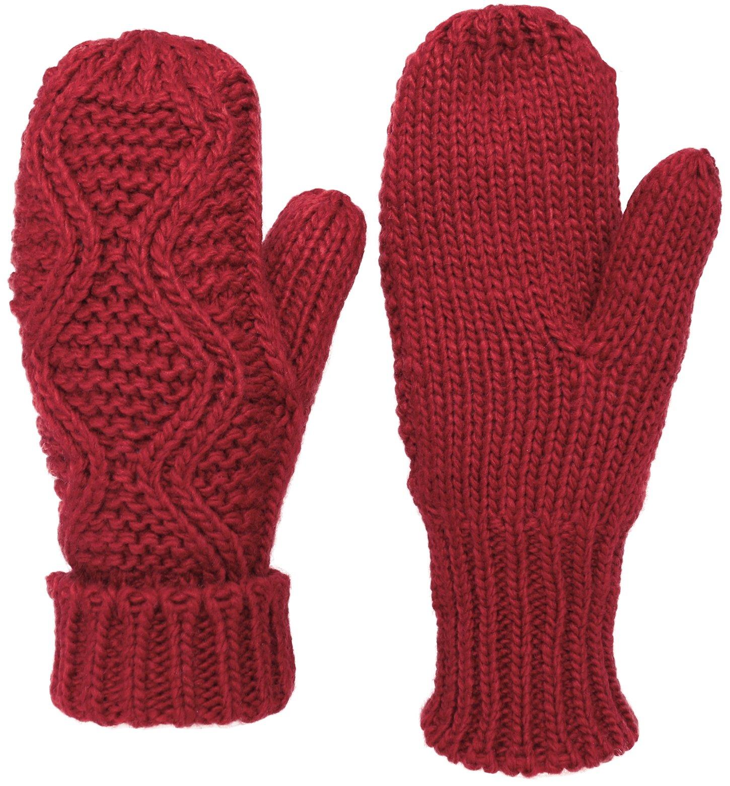 KMystic Classic Cuffed Thick Winter Knit Mittens (Burgundy)