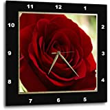3dRose Red Rose Frame in Gold & Black - Wall Clock, 15 by 15-Inch (DPP_77280_3)