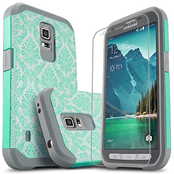 innovative design 4a943 3f8cb Galaxy S5 Active Case, Starshop [Shock Absorption] Hybrid Dual Layers  Rugged Impact Advanced Armor Phone Cover With [Premium HD Screen Protector  ...