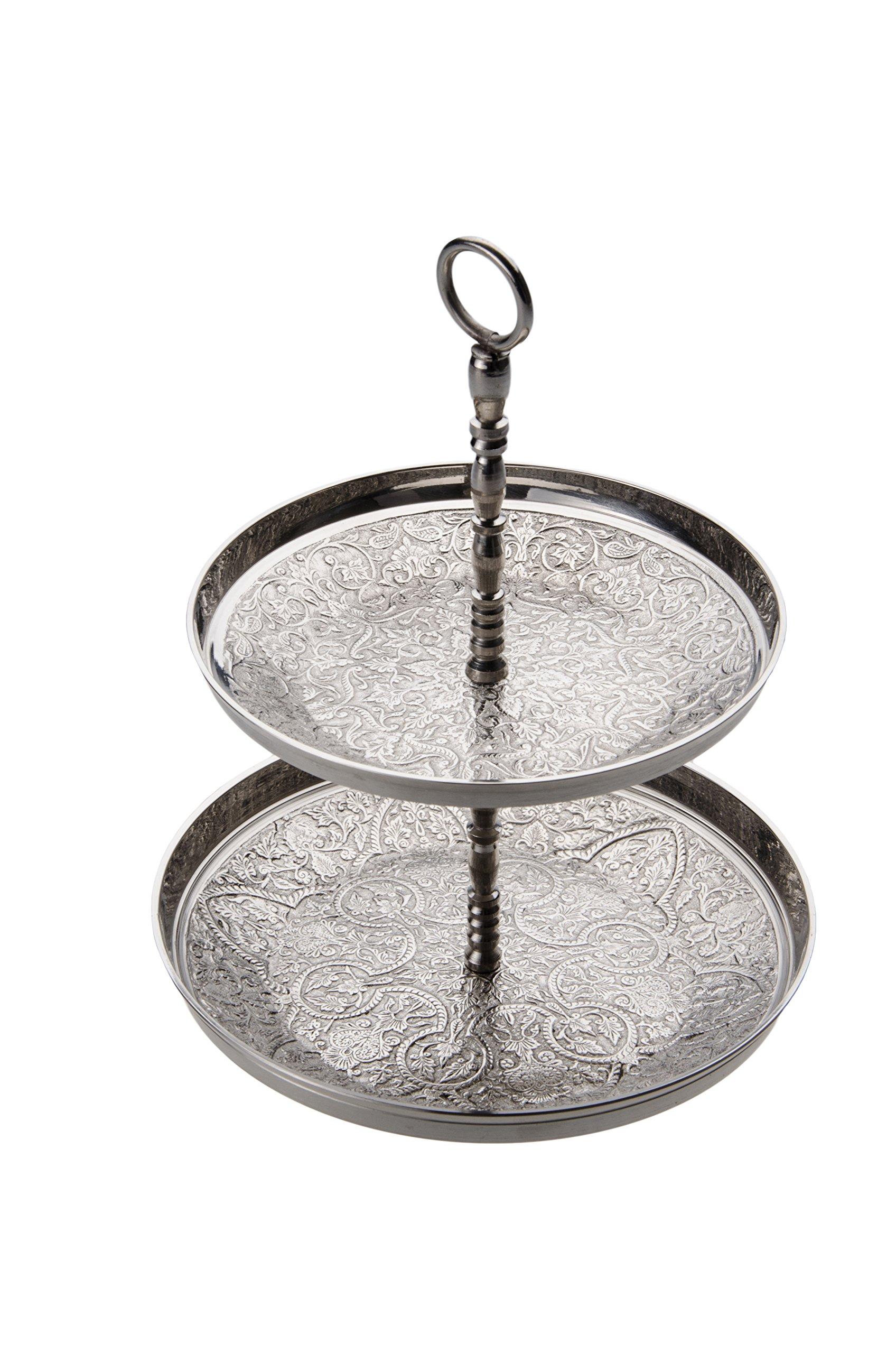 Marrakesch Orient & Mediterran Interior  Oriental Etagere Moroccan Indian Brass Cake Stand Fruit Stand - Awatif - Silver Colored