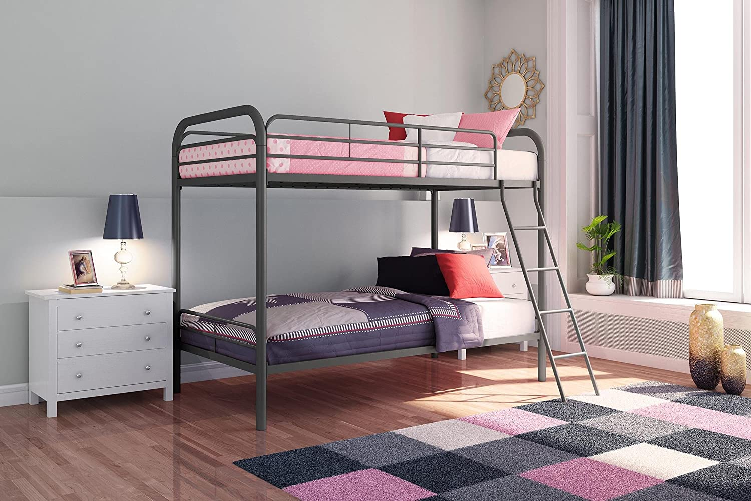 Amazon Com Dhp Twin Over Twin Bunk Bed With Metal Frame And Ladder Space Saving Design Silver Furniture Decor