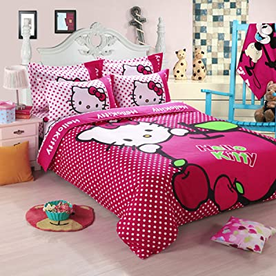 "Hmlover Soft Polyester Cartoon 3D Print Bedding Set 4pcs,Durable,Queen Size , 1duvet cover,2pillowcases,1bed sheet Hello Kitty Dots 1.5m/150x200cm/59.1""x78.8"": Kitchen & Dining"