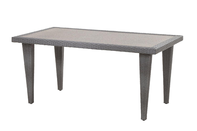 Bukatchi Alu Polyrattan Geflecht Gartentisch Quarto 180 x 90 cm Rattan, silverline grau, Spraystone