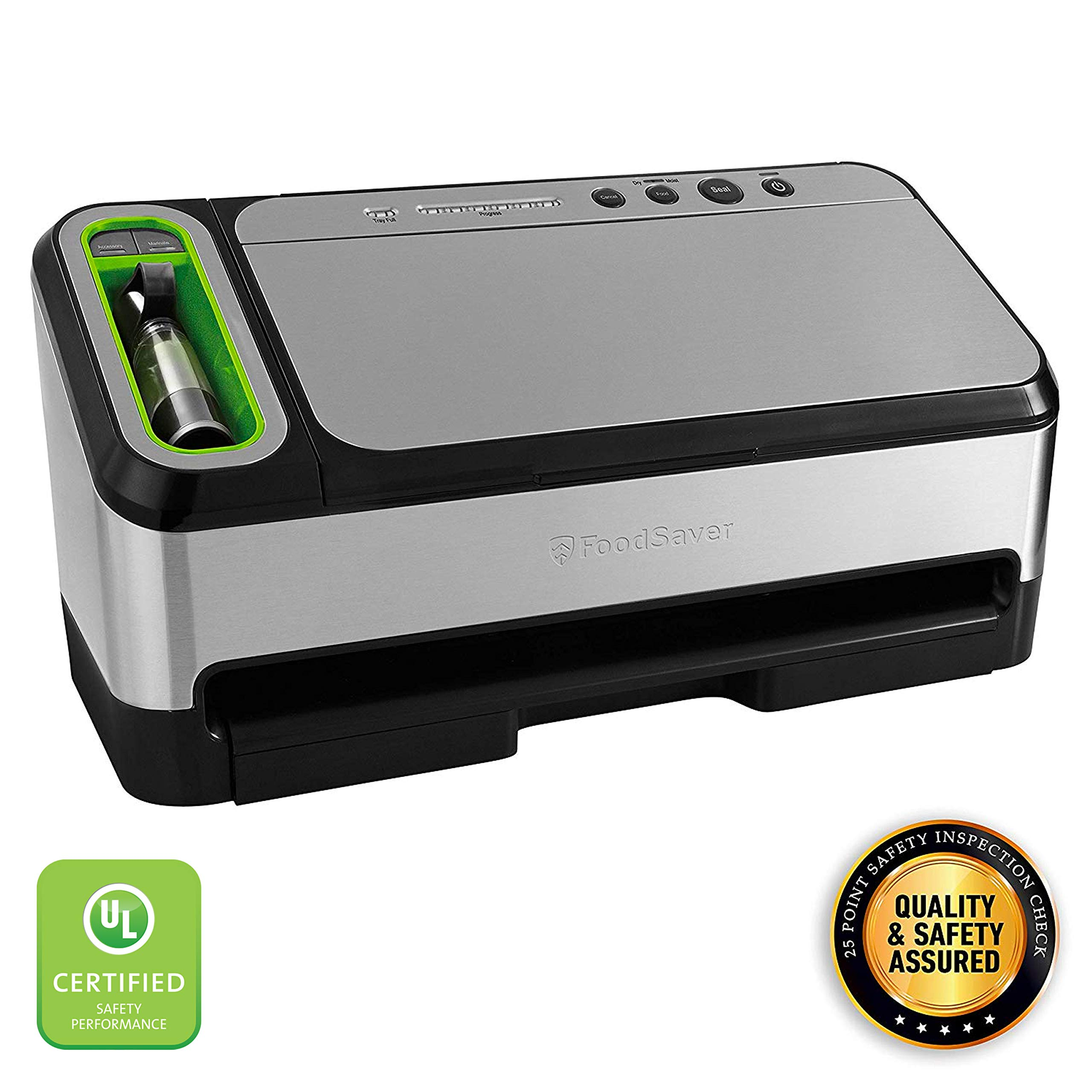 FoodSaver V4840 2-in-1 Vacuum Sealer Machine with Automatic Bag Detection and Starter Kit | Safety Certified | Silver by FoodSaver