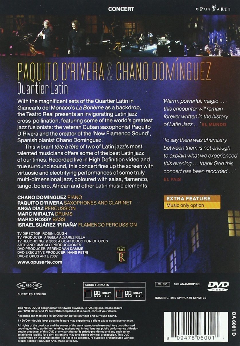 Amazon.com: DRivera/Dominguez - Quartier Latin: Live: Paquito dRivera: Movies & TV