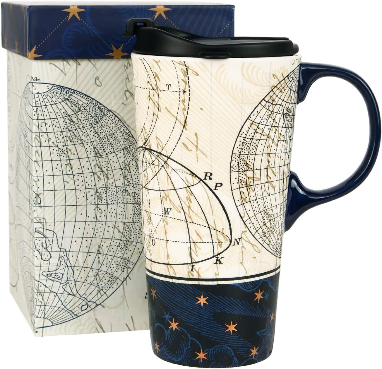 Topadorn Ceramic Travel Mug and Coffee Cup 17 oz. with Handle and Color Box,Starstruck