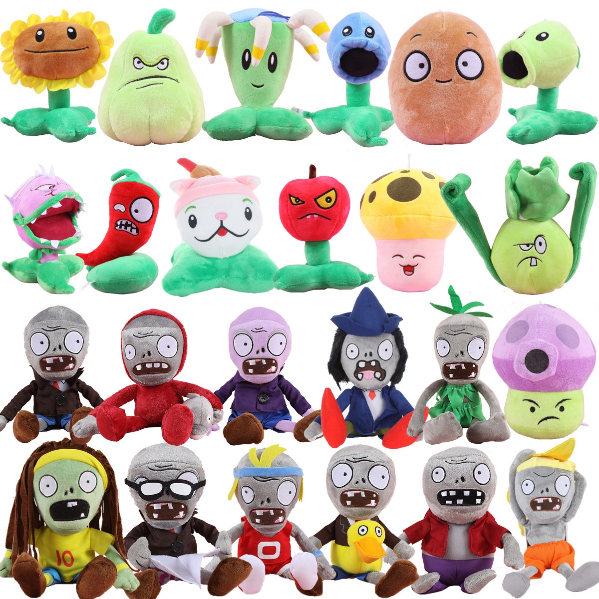 Plants vs Zombies 2 PVZ Figures Plush Toys Set (24pcs) Baby Staff Toy Stuffed Soft Doll Lot 15-20cm/6''-8'' Tall