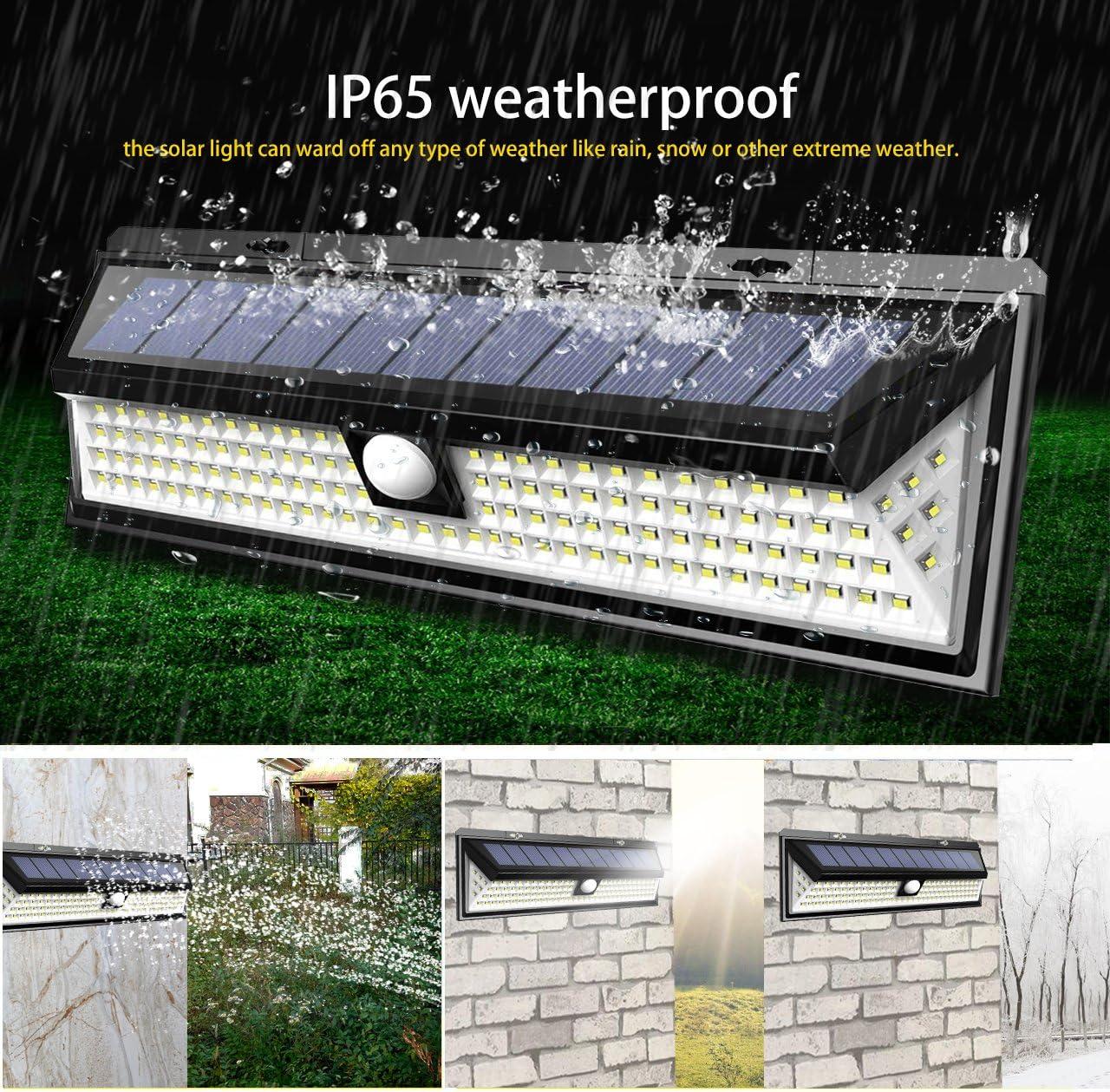 118//180 LED Solar Lamp Outdoor Garden Wall Waterproof PIR Motion Sensor Light UK
