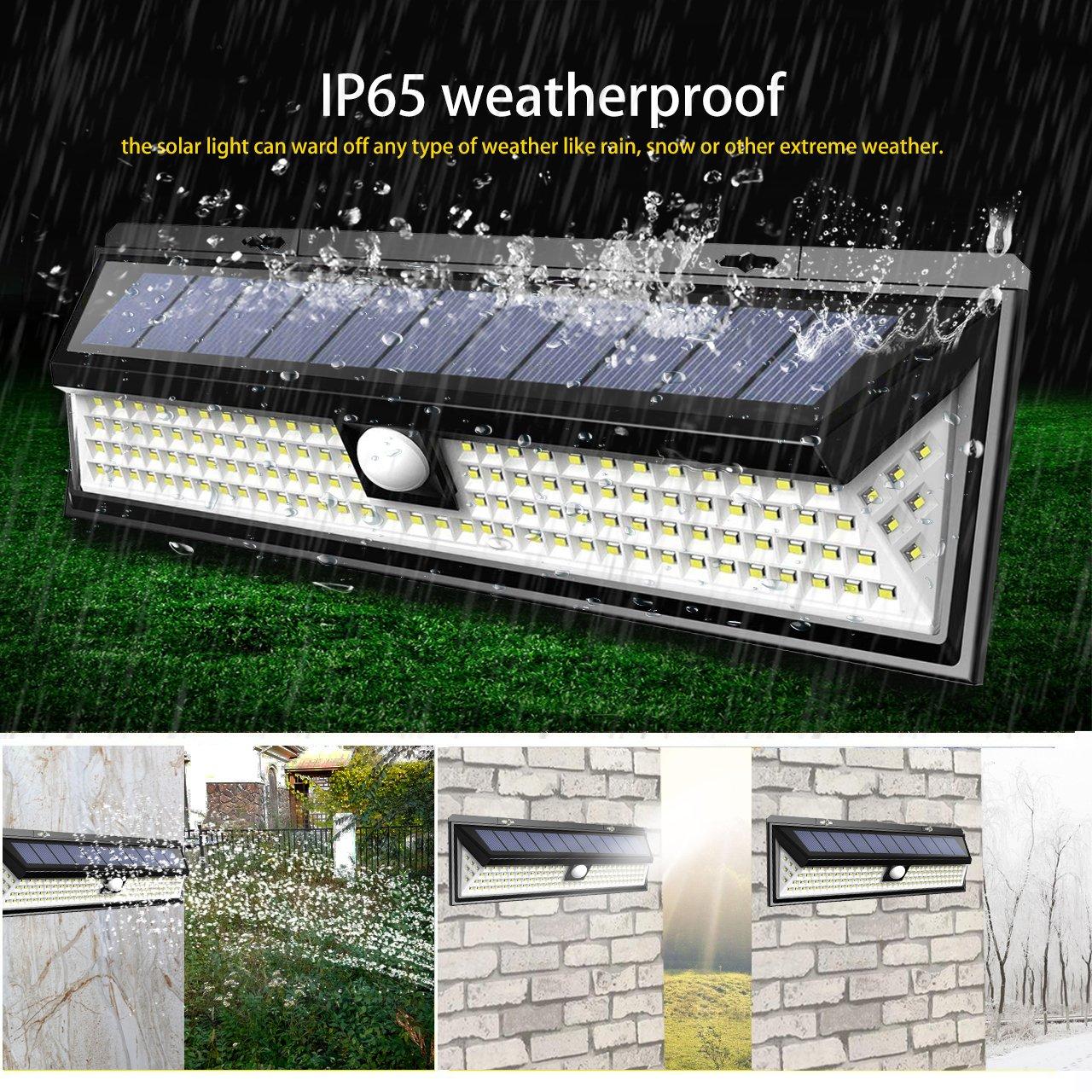 3 Modes IP65 Waterproof Security Wireless Wall Light Facaimo 118 LED 4400mAh Motion Sensor Security Night Light Solar Lights Outdoor