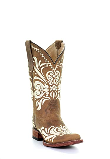 a1924b6e37a Corral Circle G Women's Diane Embroidery Square Toe Leather Cowgirl Boots -  Tan