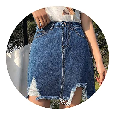 Vintage Ripped Sexy Short Mini Jeans Skirts Girls High Waist Hole