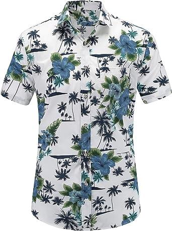 JEETOO Camisa Hawaiana de Flores Manga Corta Casual Para Hombre: Amazon.es: Ropa y accesorios