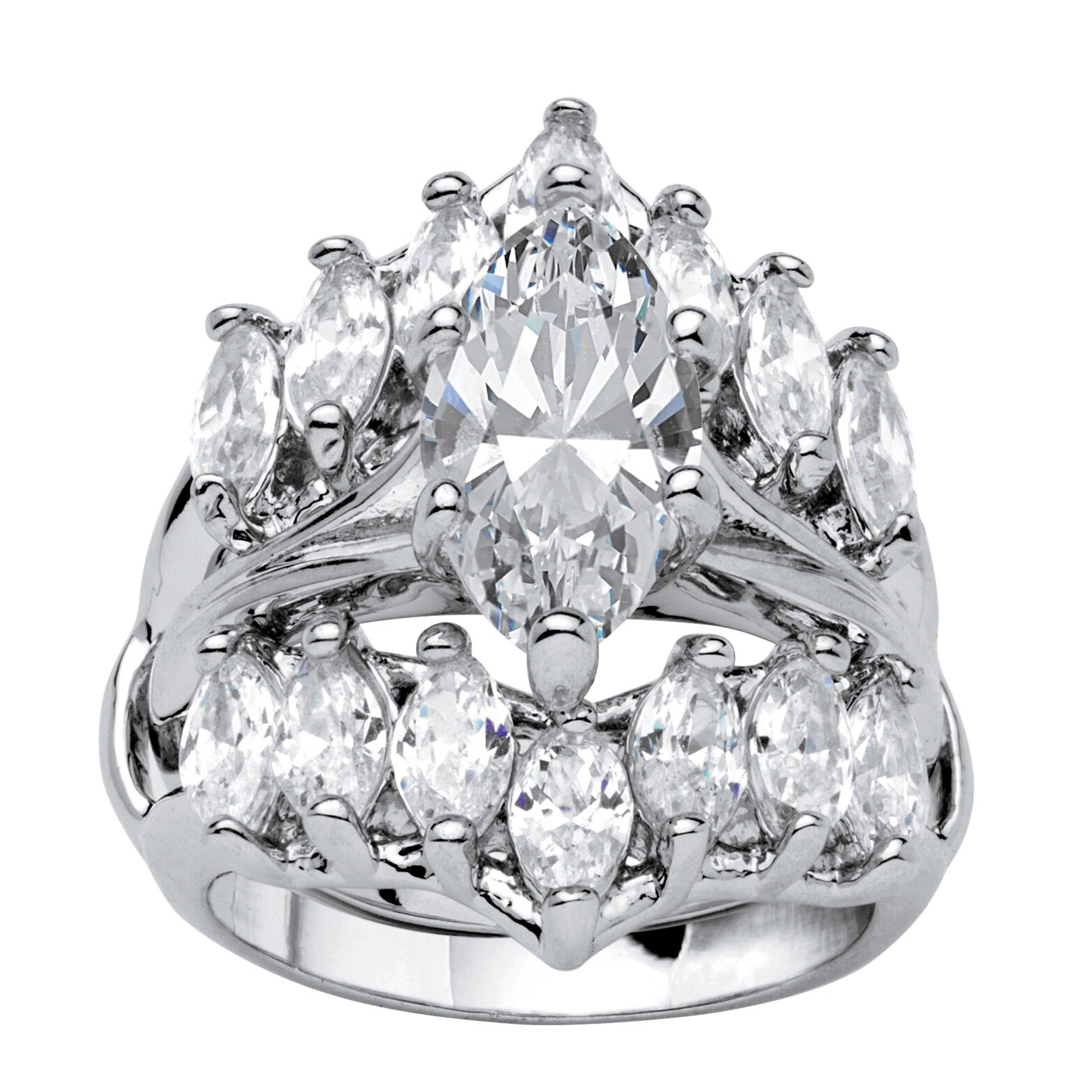 Palm Beach Jewelry Marquise-Cut White Cubic Zirconia Silvertone Jacket Bridal Ring Set Size 5