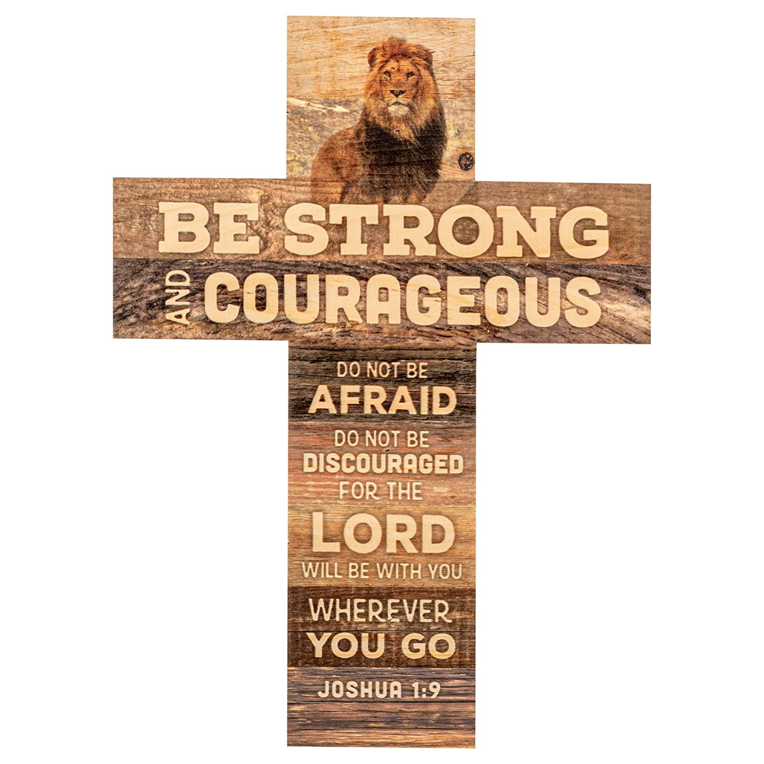 P. Graham Dunn Be Strong and Courageous African Lion 14 x 10 Wood Wall Art Cross Plaque
