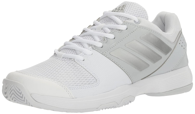 adidas Women's Barricade Court Tennis Shoes B01H2DCFBO 9 M US|White/Metallic Silver/Medium Grey Heather