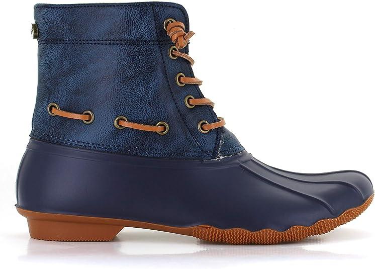 Seven7 Womens Deanston Rain Boot Waterproof Duck Booties Navy 9