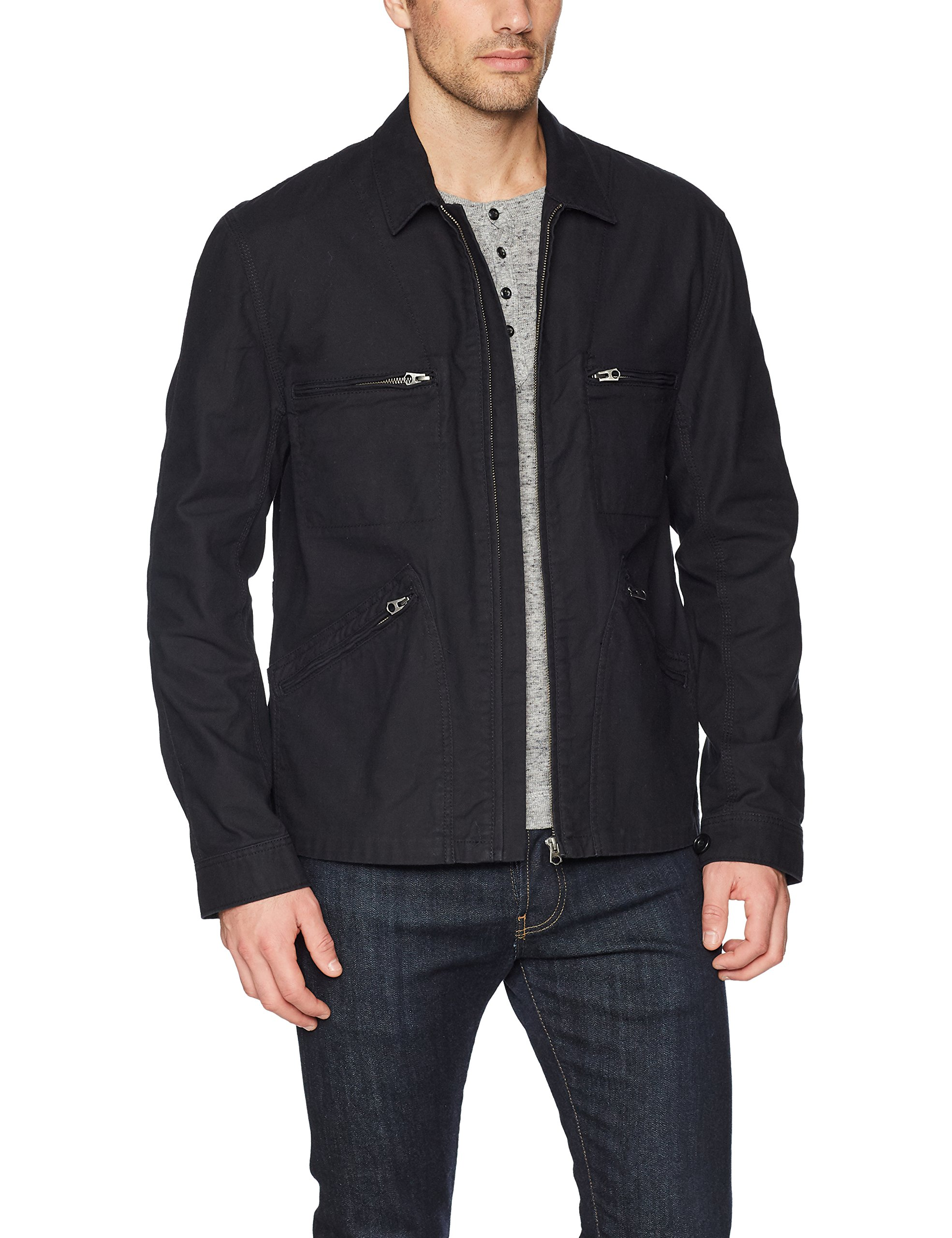 French Connection Men's Slub Stretch Twill Jacket with Zippers, Black, XL