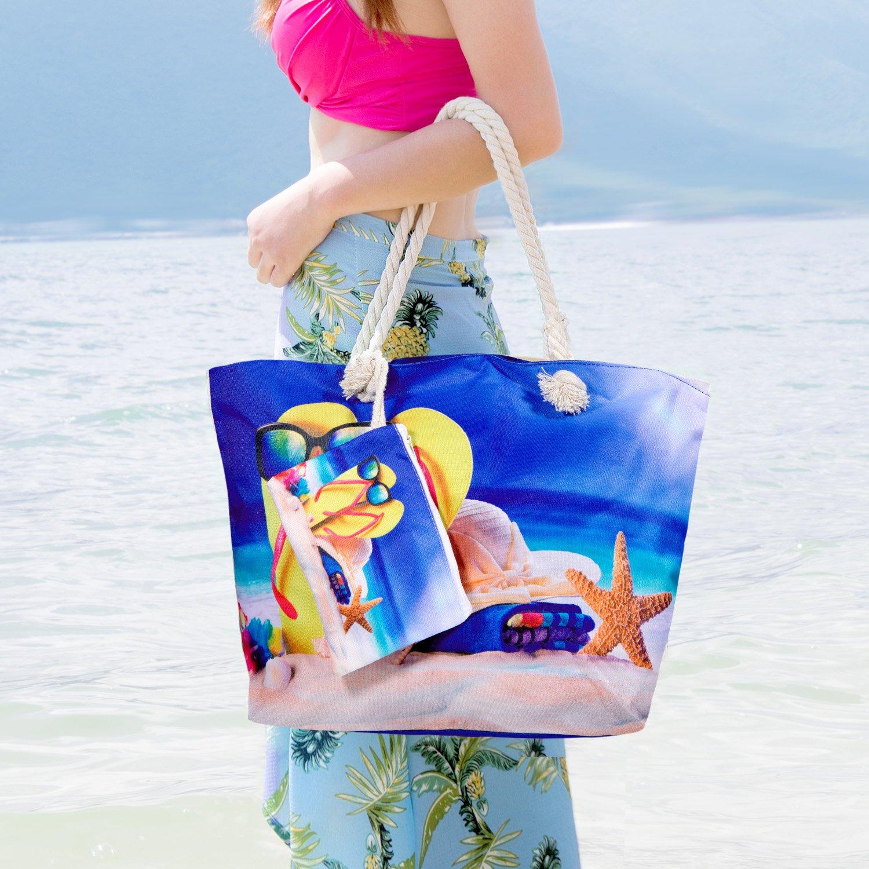 MOOKLIN Bolsa de Playa de Lona Grande niña Mujer Bolsas de viaje Bolsos bandolera Bolsos de mano Bolsos mochila Bolsos totes Shopper Bolsa con Cremallera ...