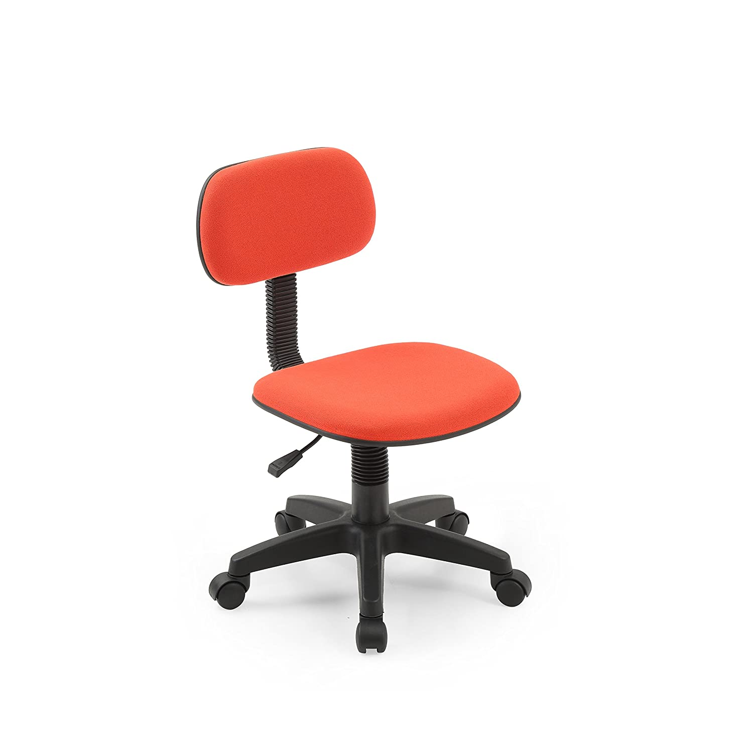 Hodedah Armless, Low-Back, Adjustable Height, Swiveling Task Chair with Padded Back and Seat in Red