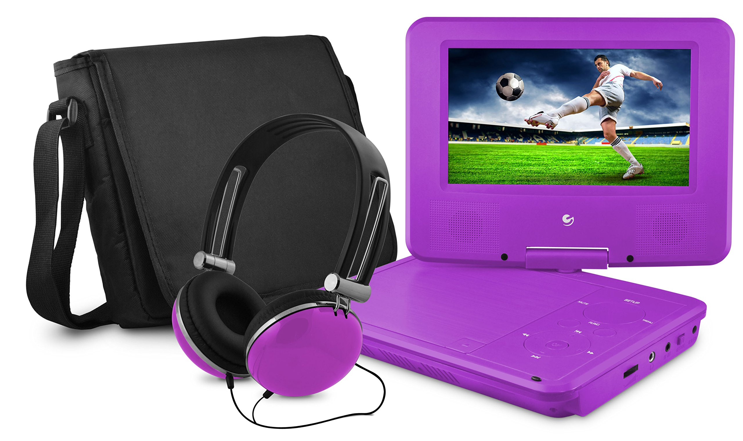Ematic Personal DVD Player with 7-Inch Swivel Screen, Headphones, Carrying Case, Purple