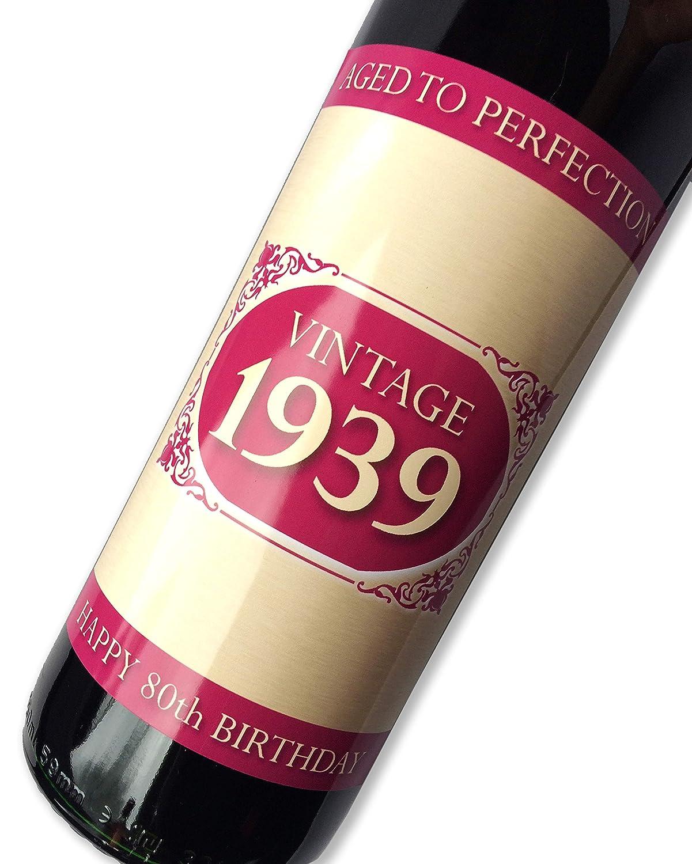 Purpleproducts 1939Vintage Rose Joyeux Anniversaire 80Ans 2019étiquette de Bouteille de vin Cadeau pour Homme et Femme