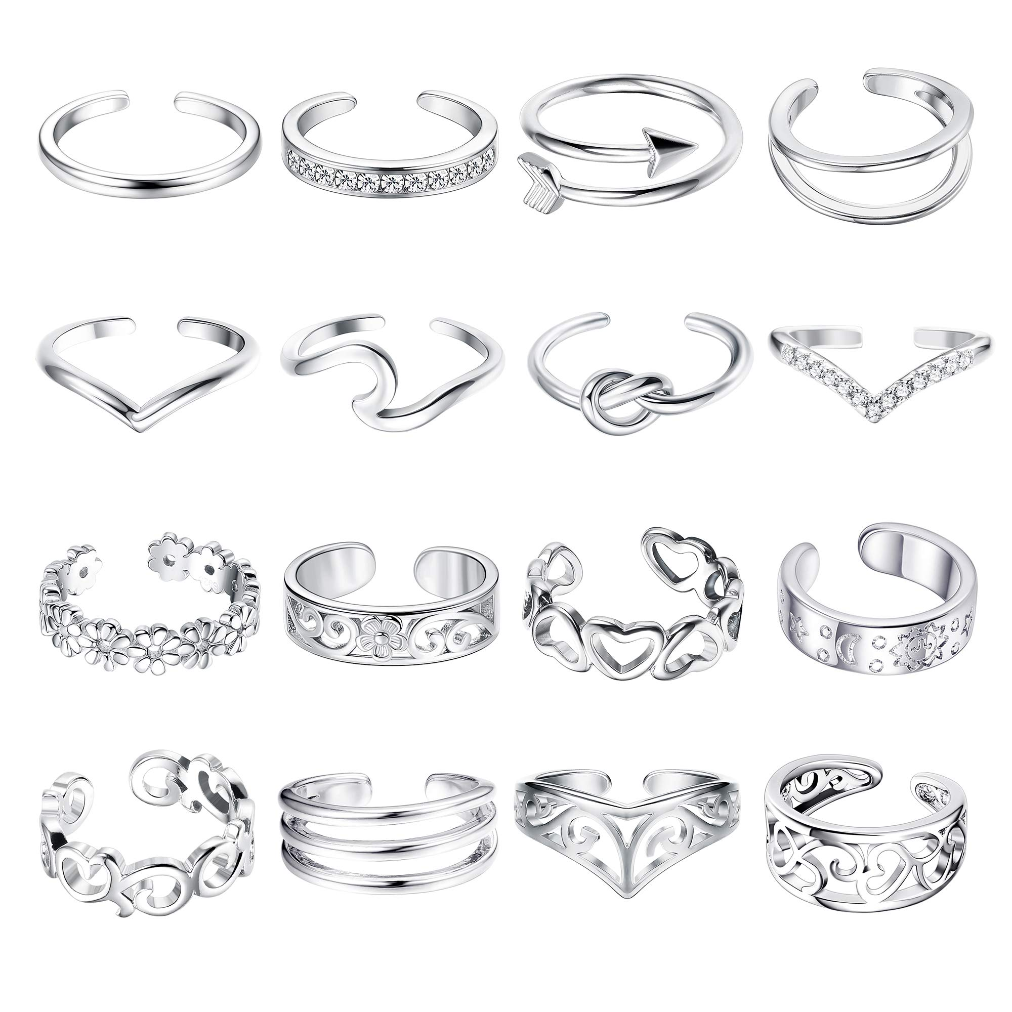 FUNRUN JEWELRY 16PCS Adjustable Toe Ring for Women Girls Flower Knot Arrow Wave Ring Band Open Tail Finger Ring (Platinum Plated) by FUNRUN JEWELRY