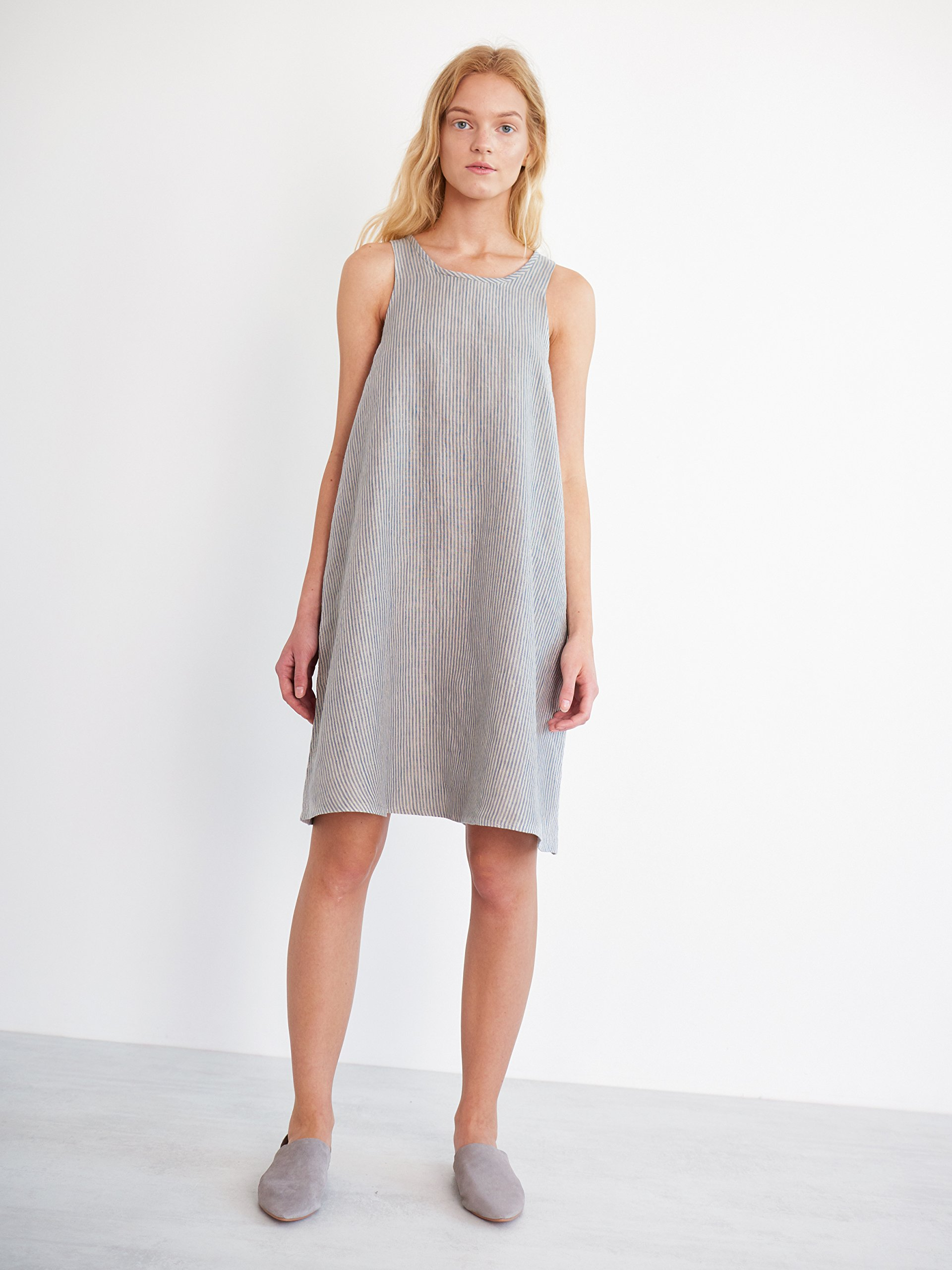 LILY Sleeveless Linen Shift Dress in Stripe Summer Midi Knee Length