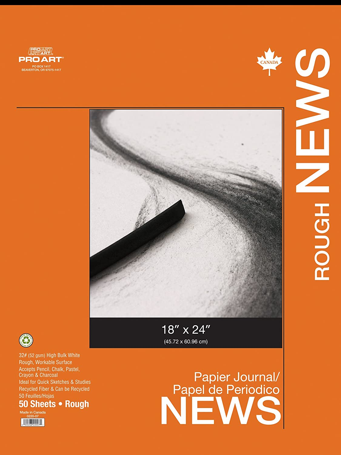 Pro Art 18-Inch by 24-Inch Rough Newsprint Paper Pad, 50 Sheets 0220-07
