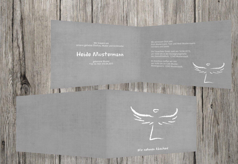 Tarjeta de luto Heavenly Wings, gris, 50 Karten