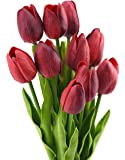 FiveSeasonStuff 10 pezzi Tocco Realistico Tulipani Artificiale Mazzo di Fiori, Ideale per Matrimoni, Sposa, Partito, Casa, Studio Décor Fai da te (Vino Rosso)