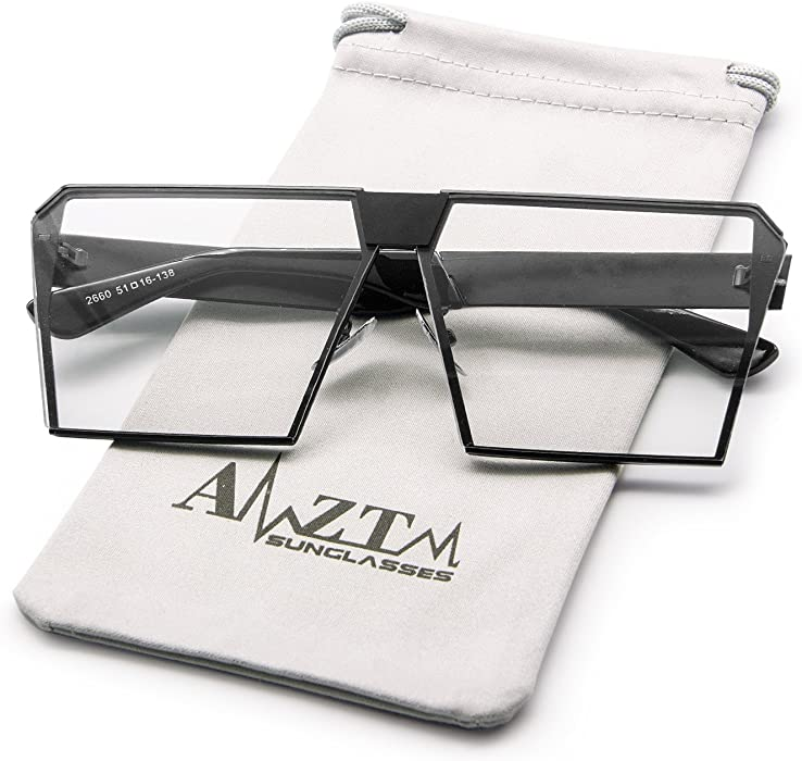 83080d0448d AMZTM Square Oversized Polarized Metal Frame Women and Men Sunglasses Trend  Fashion Mirrored Reflective REVO Lens