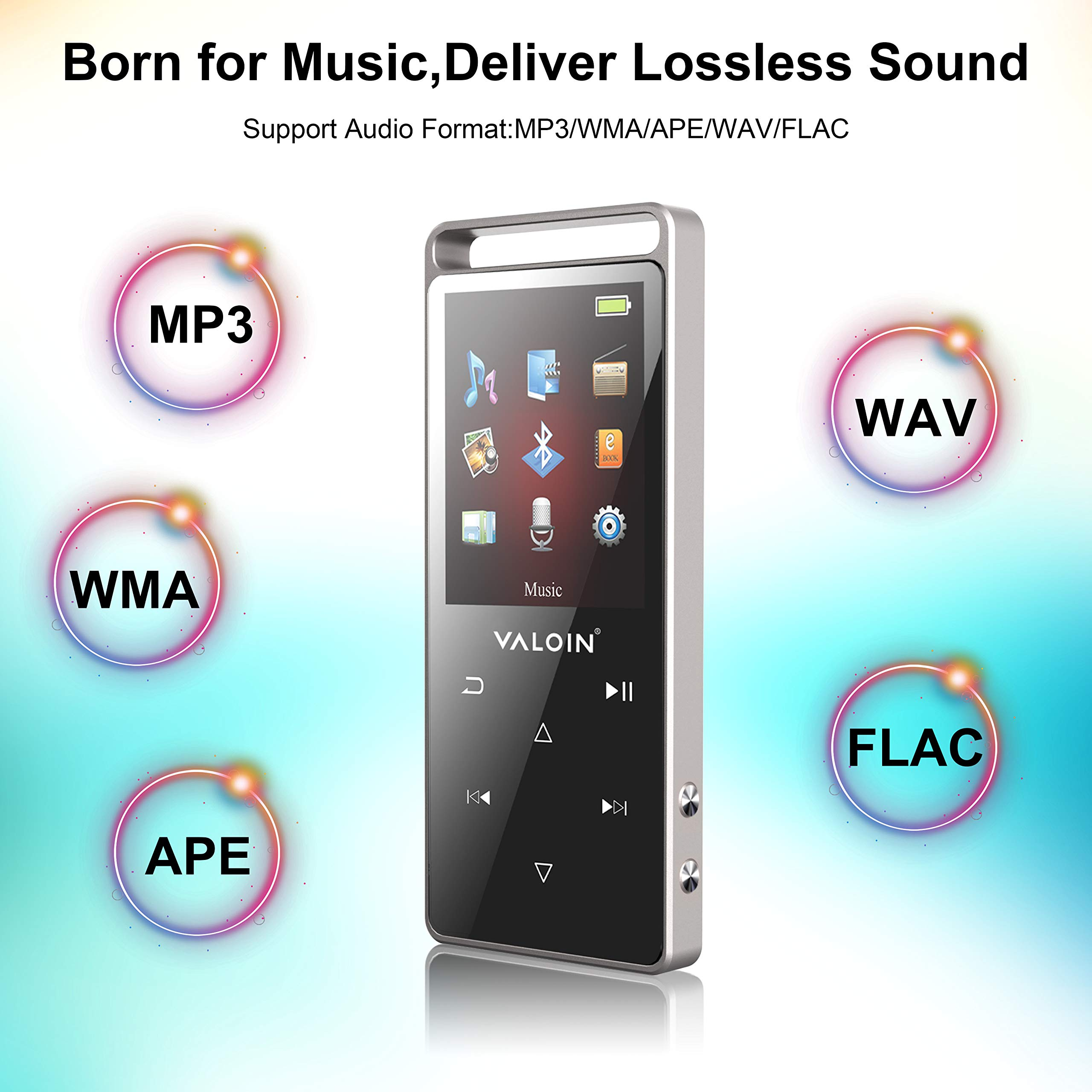 8Gb MP3 Player Advanced Bluetooth 4.0,2019 Lastest Digital Music Player with 1.8 Inch Screen Touch Button Support Video/EBook/FM Radio for Sport by Valoin (Image #6)