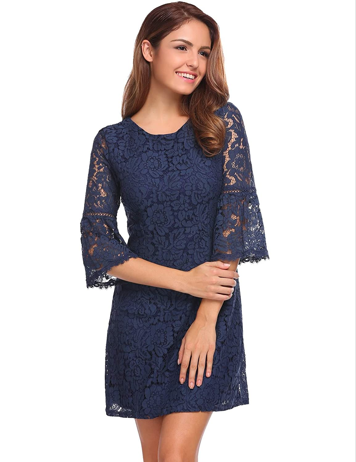 a1ff60a4e02 evokem Women s Casual 3 4 Flare Sleeve Homecoming Party Floral Lace A-Line  Dresses  Amazon.in  Clothing   Accessories