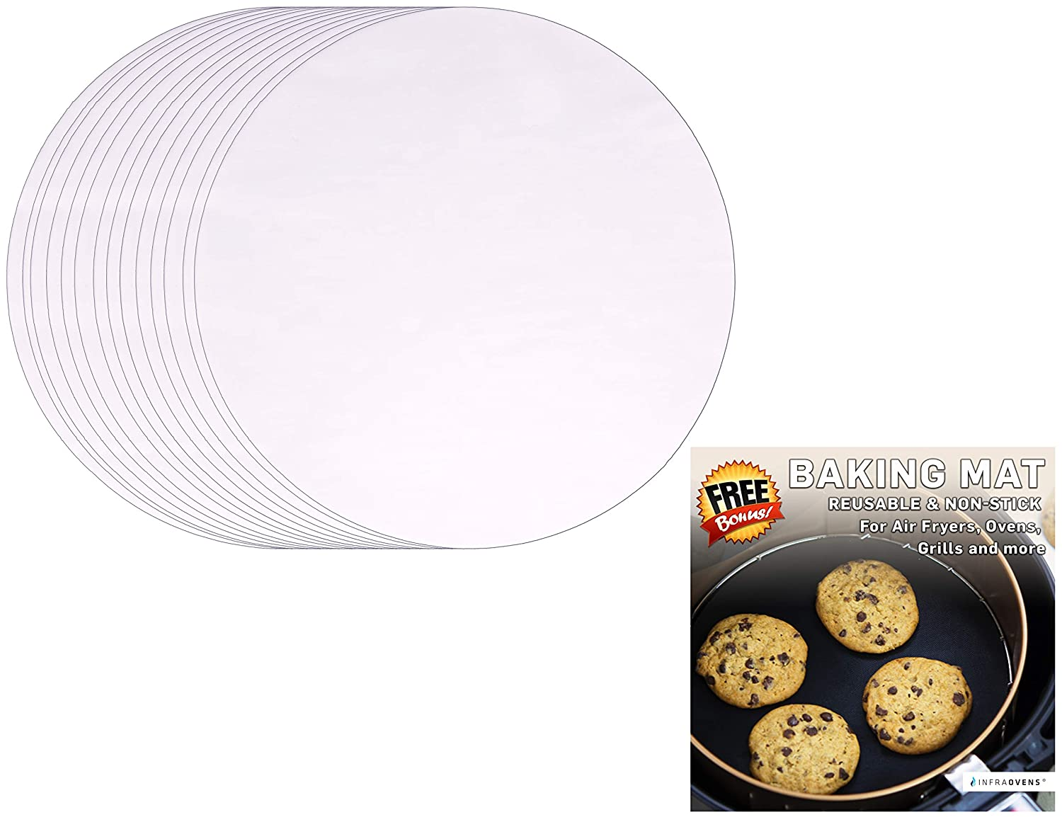 100pcs Air Fryer Parchment Paper Liners or Steam Paper + Non-Stick Grill Mat Compatible with GoWise, Black and Decker, Bella | Round Bleached Rice Roll Steamer Sheets by Infraovens (SMALL)
