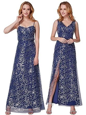 Ever Pretty Damen kalte Schulter Pailletten Spaghetti-Trägern Rüschen  Partykleid Abendkleid 36 Größe Navy Blau dfe6da7755
