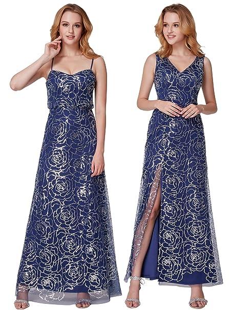 78c8b80c7fe Ever Pretty Women s Open Back Foral Pattern Sequin Spaghetti Straps  Bridesmaid Dresses Navy Blue ...