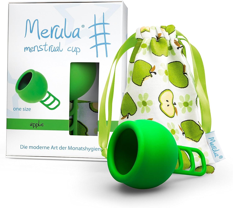 Merula Cup apple (verde) - Tamaño único copa menstrual de silicona de grado médico