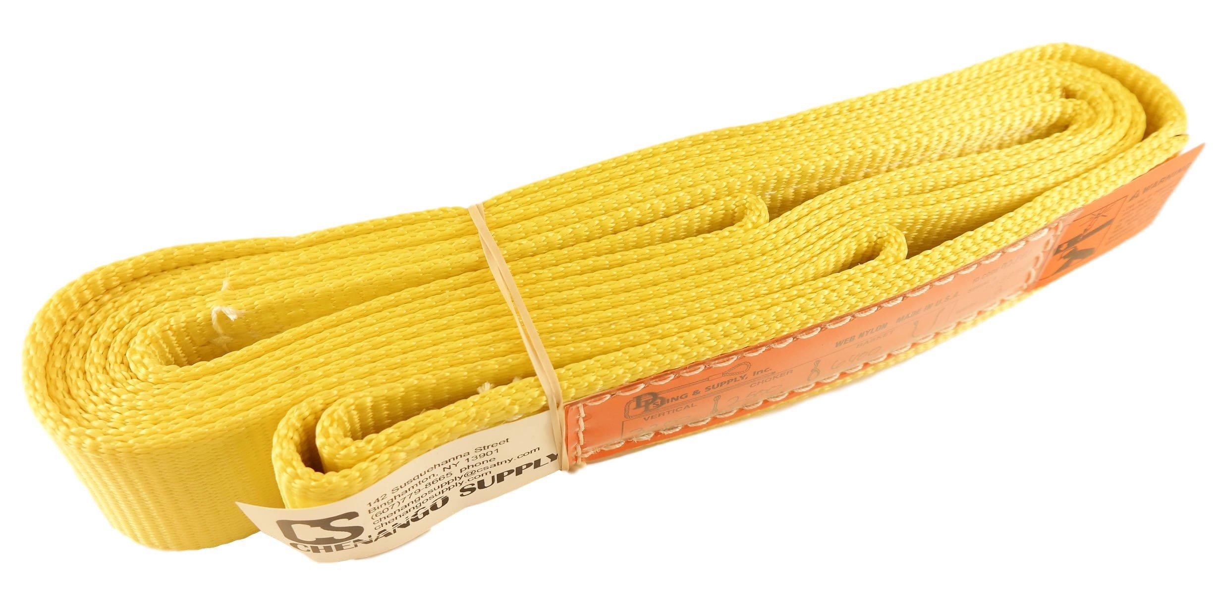 DD Sling. Multiple Lengths! (100% USA Made), 1-PLY, 2'' Wide Nylon Lifting Web Sling. 3,200lbs Vertical, 2,500lbs Choke, 6,400lbs Basket, Eye & Eye, Heavy Duty (900 webbing) (2''x12') by DD Sling & Supply, Inc.