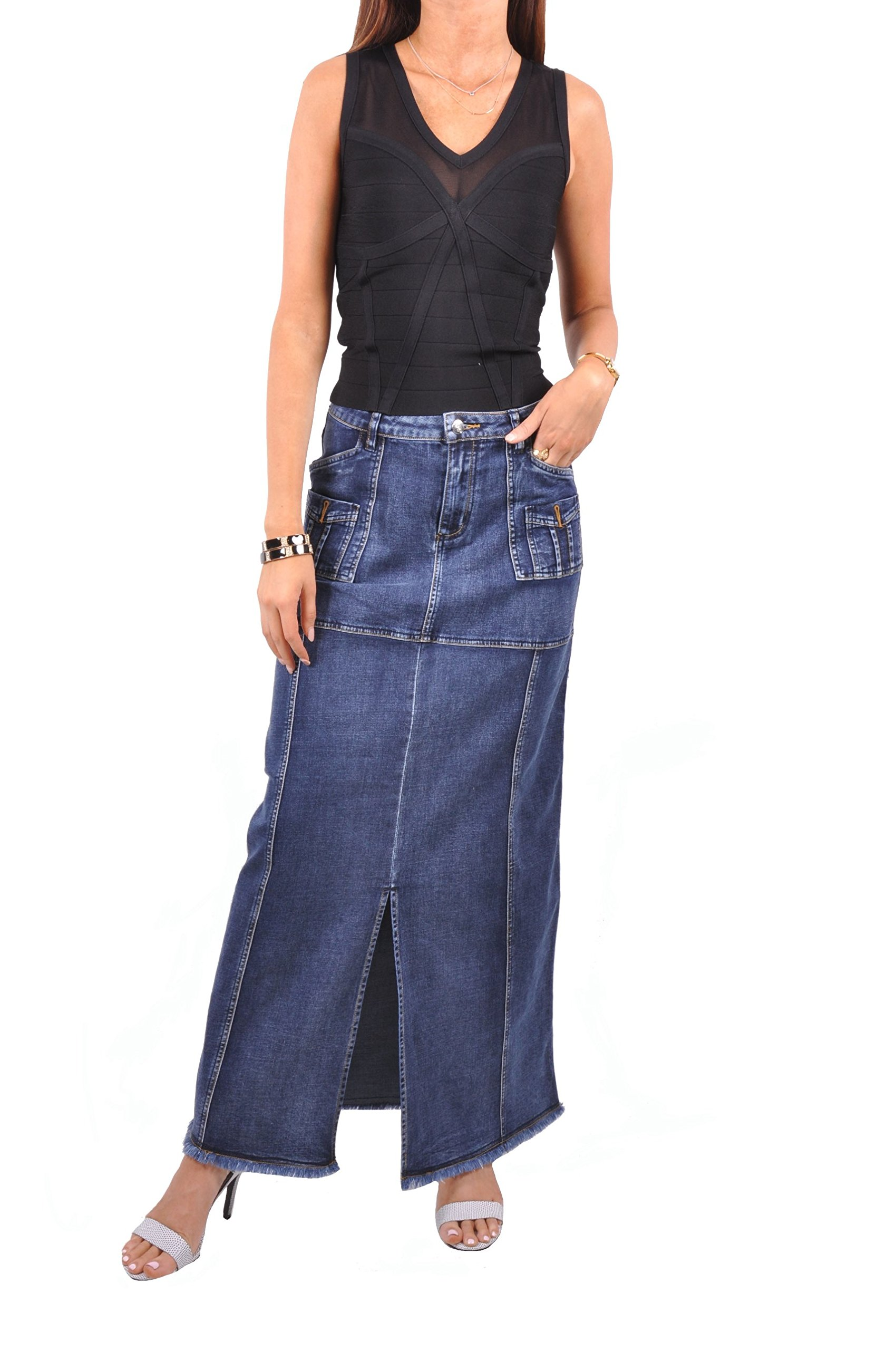 Style J Brushed Blue Denim Skirt-Brushed Blue-32(12) by Style J