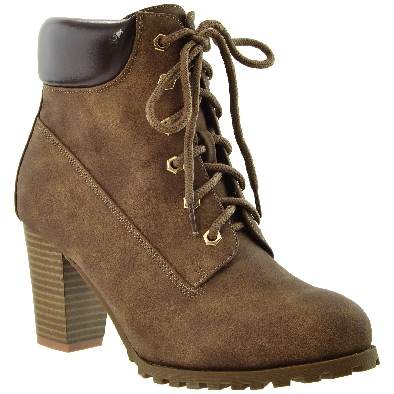 841401e7c3c Amazon.com | Womens Boots Lace Up Stacked Chunky Heel Ankle Padded Booties  KSC-WB-A10 | Ankle & Bootie