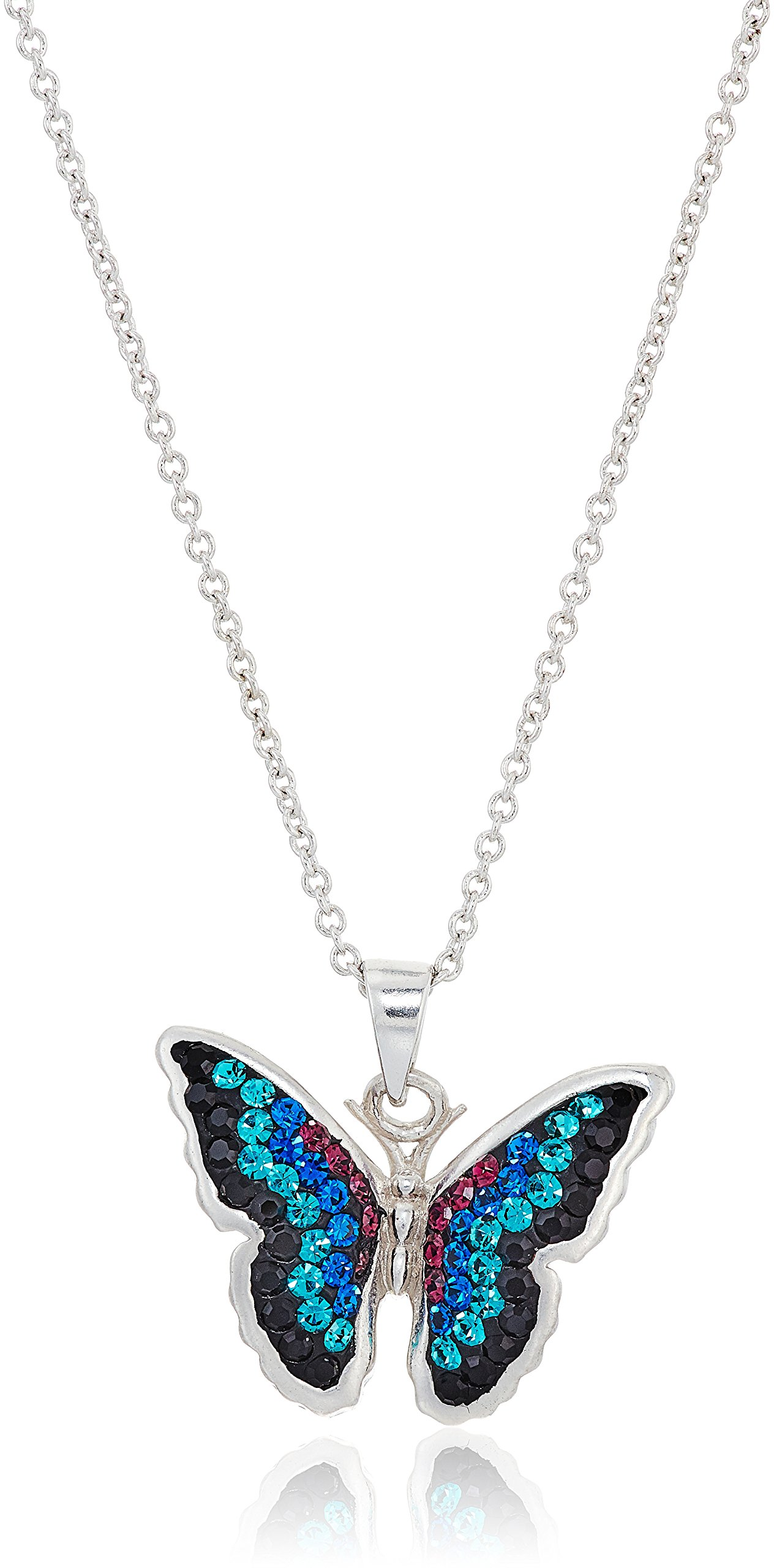 Silver Plated Crystal Blue and Teal Ombre Butterfly Pendant Necklace, 18''