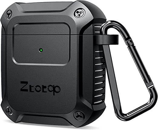 Amazon.com: Ztotop Case for AirPods 2 & 1, Designed with Full Tough Silicone+Shock-Resistant Protective Cover, Front LED Visible, Durable Armor Case with Smooth Skin - Black: Electronics